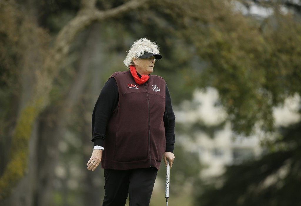Laura Davies, of England, looks over the 10th green of the Lake Merced Golf Club during the first round of the LPGA Mediheal Championship golf tournam...
