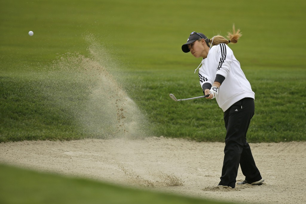 Danielle Kang hits out of bunker up to the 10th green of the Lake Merced Golf Club during the first round of the LPGA Mediheal Championship golf tourn...