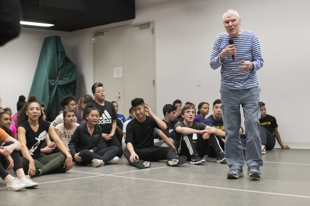 In this March 3, 2018 photo, dancer, choreographer Jacques d'Amboise speaks to current and former students during the National Dance Institute alumni ...