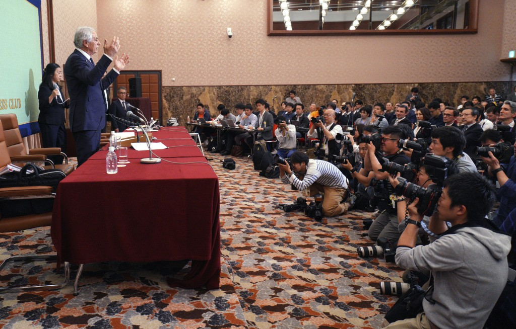 Former Japanese men's national soccer coach Vahid Halilhodzic speaks during his press conference in Tokyo Friday, April 27, 2018. Japan fired Halilhod...