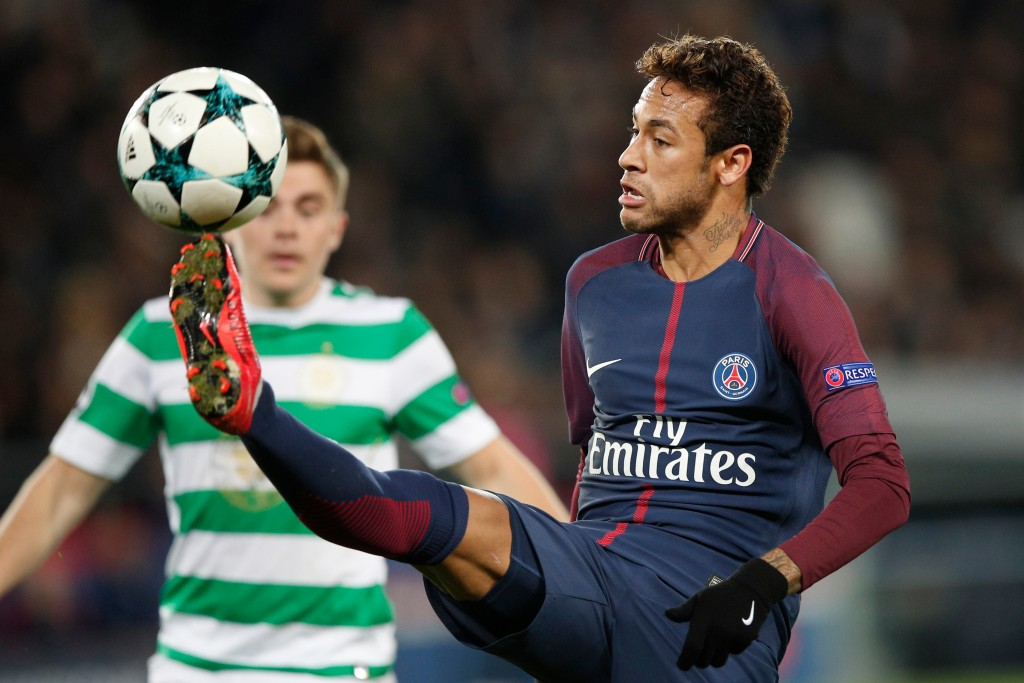 FILE - In this Wednesday, Nov. 22, 2017 file photo, PSG's Neymar kicks the ball during a Champions League Group B soccer match between Paris St. Germa...