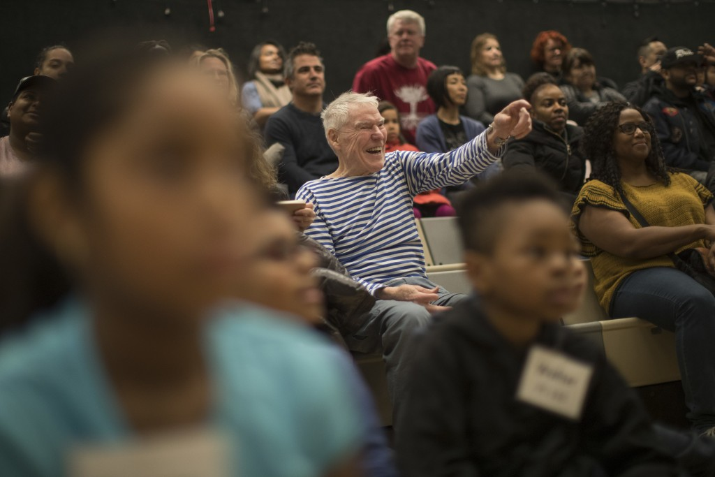 In this March 3, 2018 photo, dancer, choreographer Jacques d'Amboise, center, watches current and former students perform during the National Dance In...