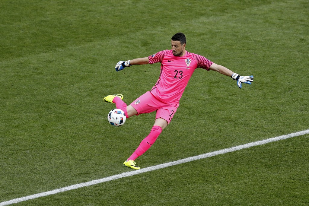 FILE - In this Friday, June 17, 2016 filer, Croatia goalkeeper Danijel Subasic kicks the ball during the Euro 2016 Group D soccer match between the Cz...