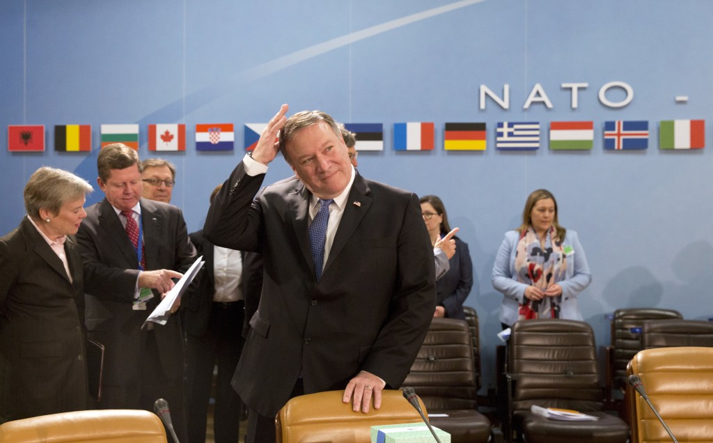 U.S. Secretary of State Mike Pompeo waits for the start of the North Atlantic Council at NATO headquarters in Brussels on Friday, April 27, 2018. NATO...