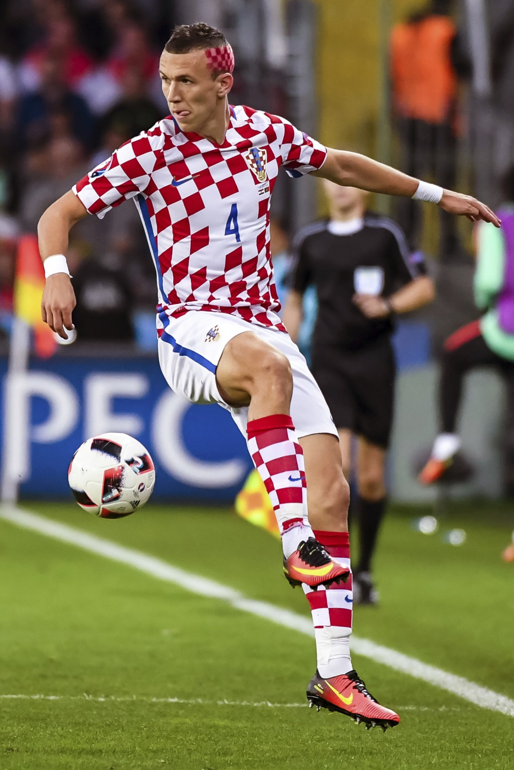 FILE - In this Saturday, June 25, 2016 filer, m Croatia's Ivan Perisic controls the ball during the Euro 2016 round of 16 soccer match between Croatia...