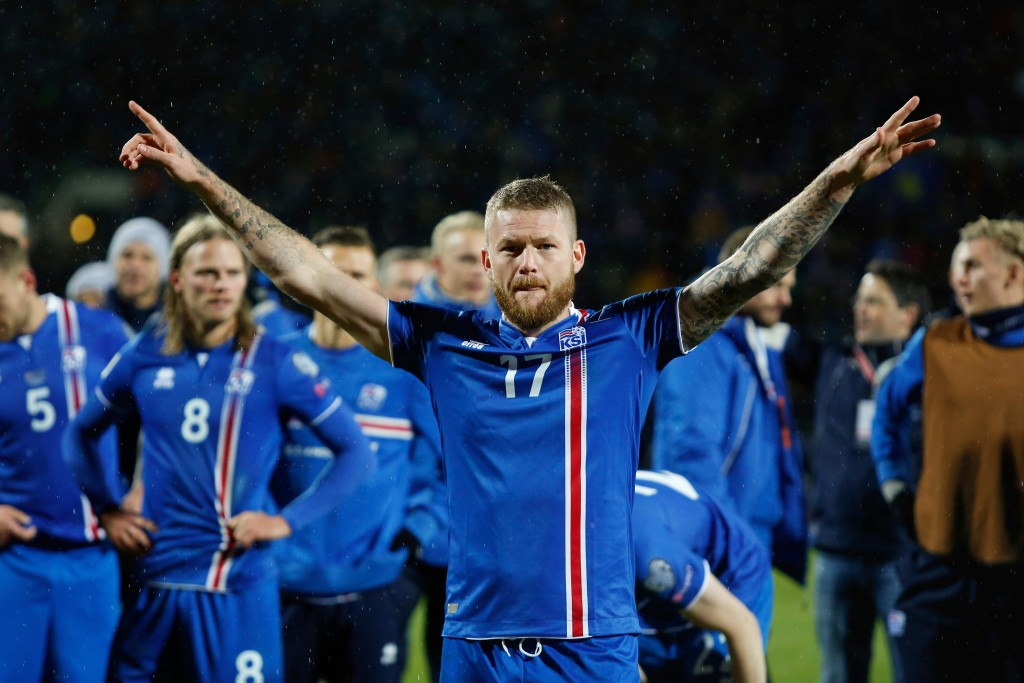 FILE - In this Monday Oct. 9, 2017 filer, Iceland's captain Aron Gunnarsson celebrates at the end of the World Cup Group I qualifying soccer match bet...