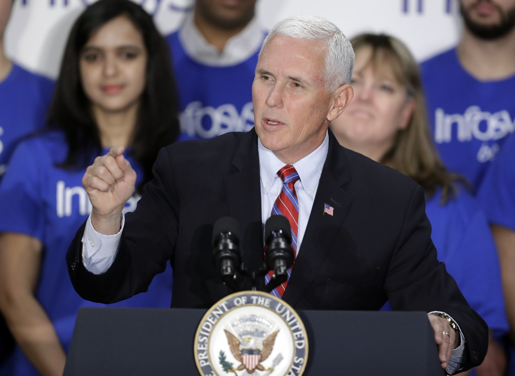 Vice President Mike Pence speaks during a Infosys economic development announcement, Thursday, April 26, 2018, in Indianapolis. The India-based inform...