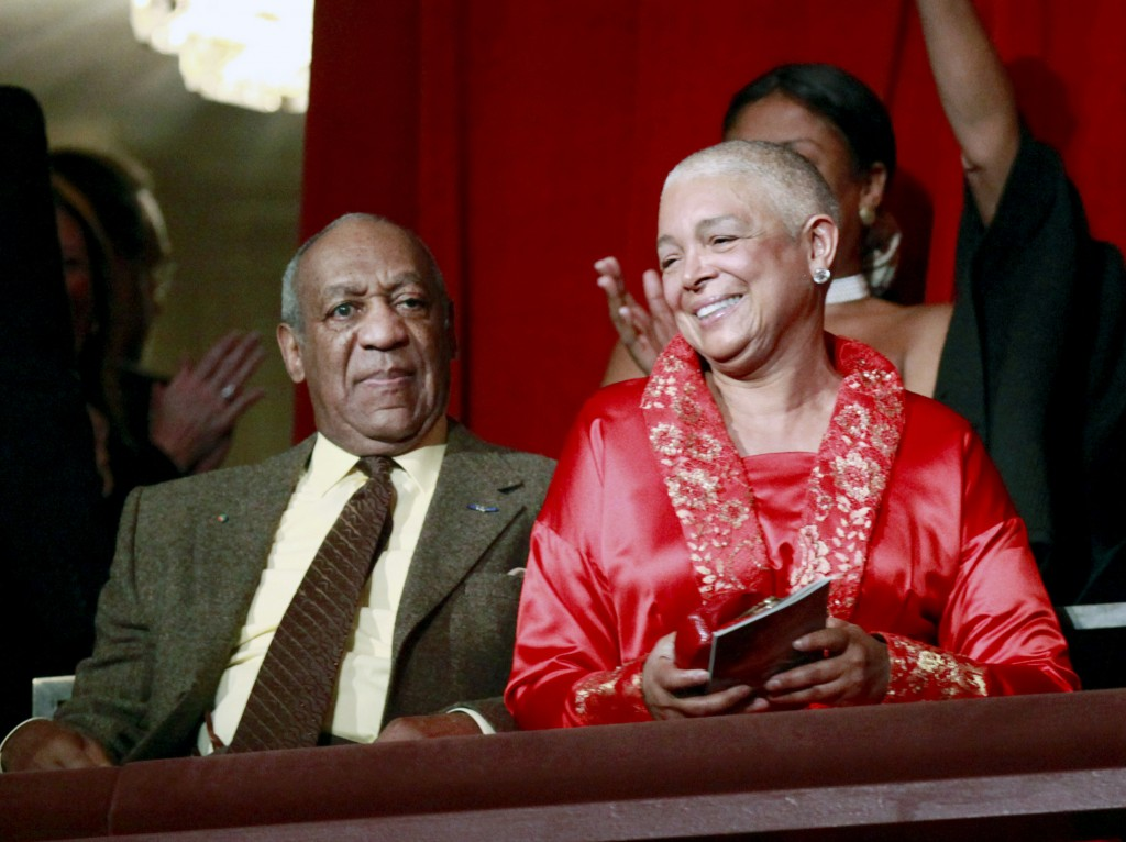 FILE - This Oct. 26, 2009 file photo, comedian Bill Cosby, left, and his wife Camille appear at the John F. Kennedy Center for Performing Arts before ...