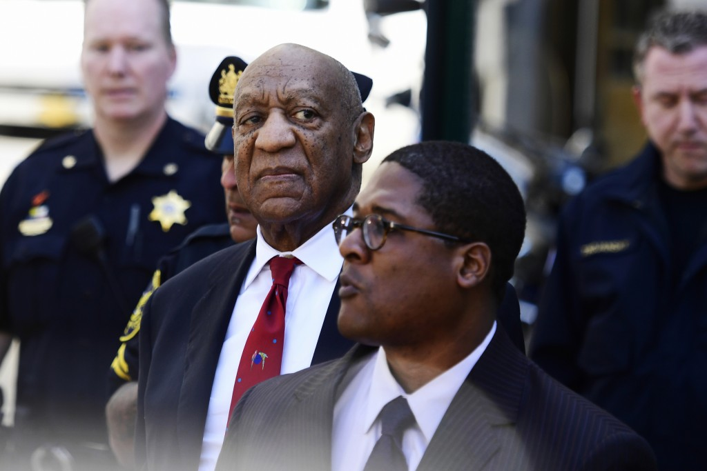 Bill Cosby looks around before he leaves the Montgomery County Courthouse, Thursday, April 26, 2018, in Norristown, Pa. Cosby was convicted Thursday o...