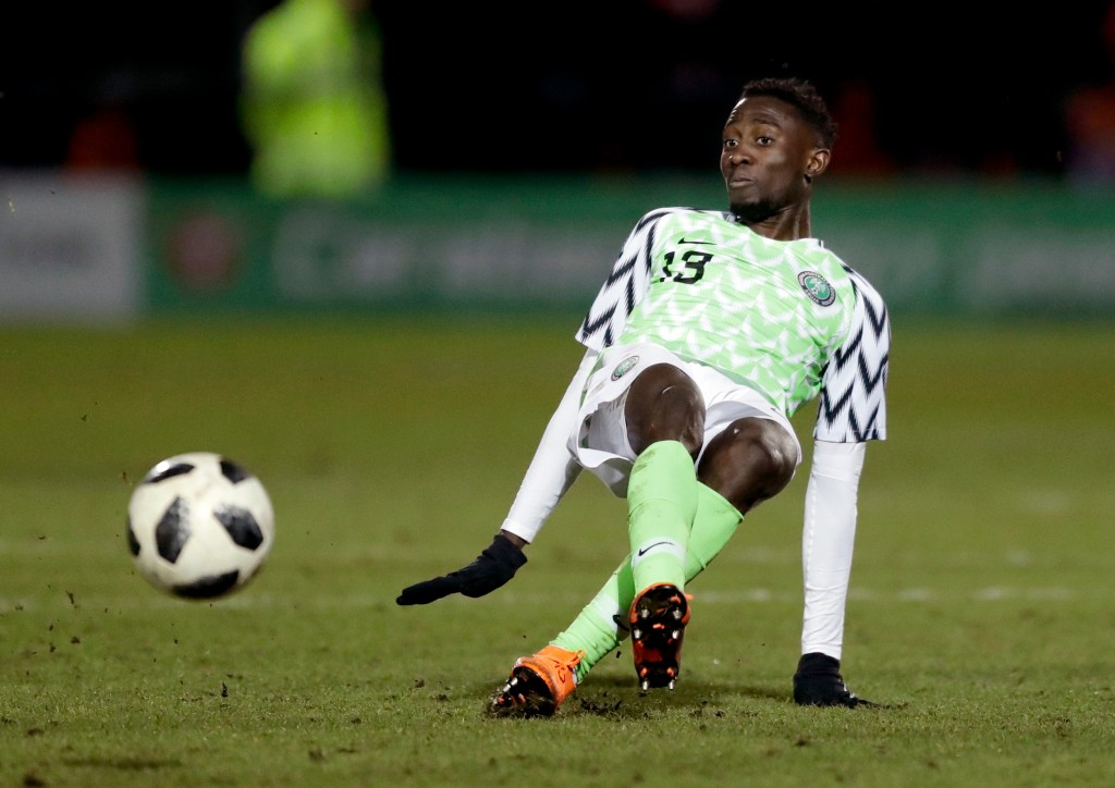 In this photo taken on Tuesday, March 27, 2018, Nigeria's Wilfred Ndidi goes for the ball during the international friendly soccer match between Serbi...