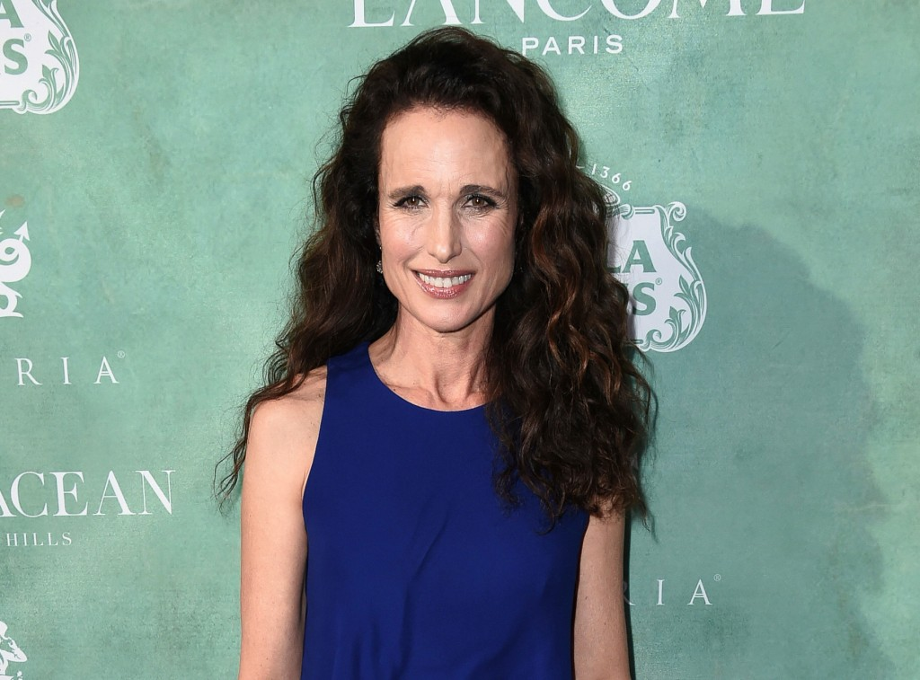 FILE - In this March 2, 2018 file photo, actress Andie MacDowell attends the 11th Annual Women In Film Pre-Oscar Cocktail Party in Los Angeles. MacDow...