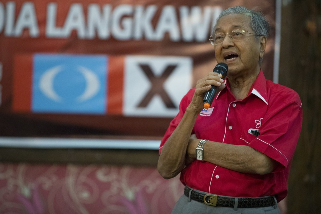 Former Malaysian strongman Mahathir Mohamad speaks as he meets with local community in Langkawi, Malaysia, Friday, April 27, 2018. Malaysian general e...