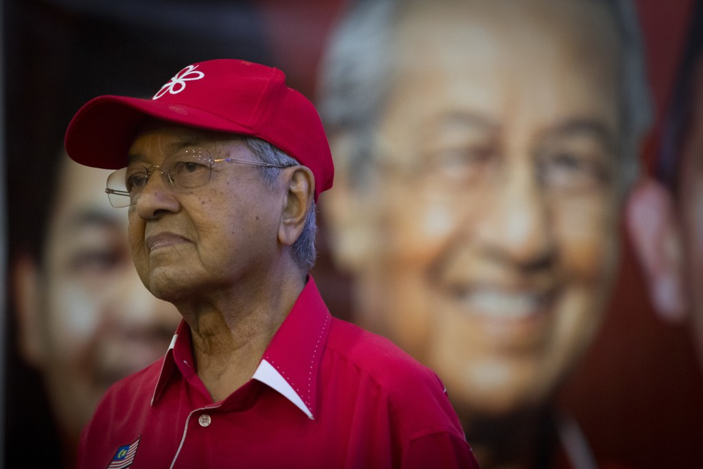Former Malaysian strongman Mahathir Mohamad meets with local community in Langkawi, Malaysia, Friday, April 27, 2018. Malaysian general elections that...