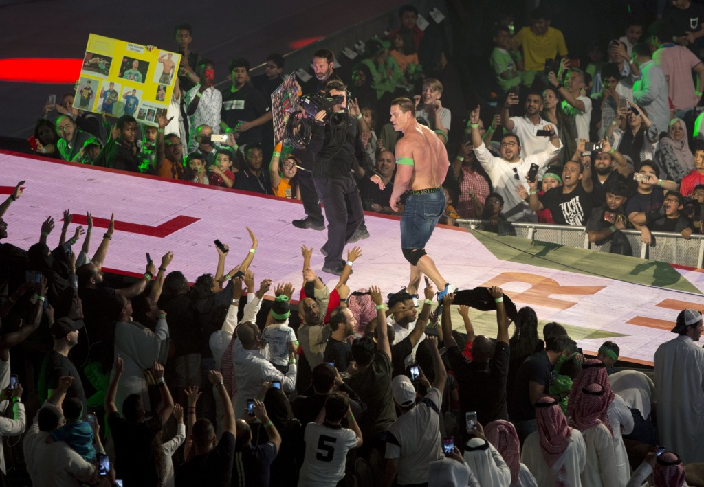 """World Wrestling Entertainment star John Cena is greeted by fans during the """"Greatest Royal Rumble"""" event in Jiddah, Saudi Arabia, Friday, April 27, 20..."""
