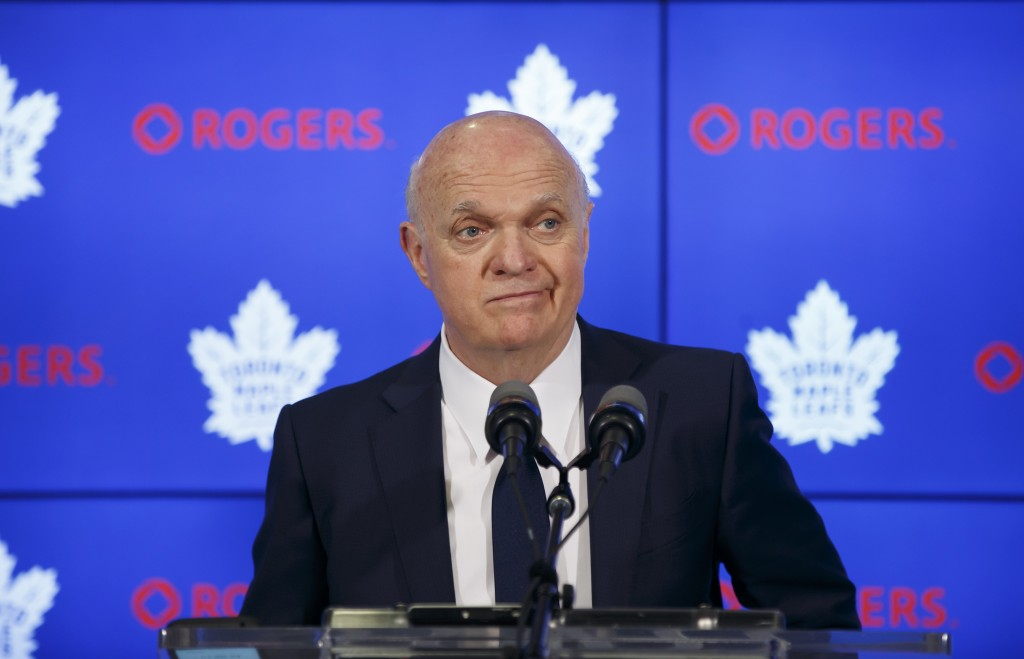 Toronto Maple Leafs NHL hockey general manager Lou Lamoriello speaks to reporters in Toronto, Friday, April 27, 2018. The Boston Bruins defeated the M...