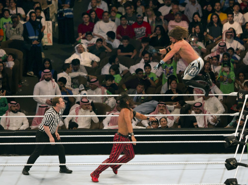 "World Wrestling Entertainment stars AJ Styles, top, and Shinsuke Nakamura, wrestle during their match at the ""Greatest Royal Rumble"" event in Jiddah, ..."
