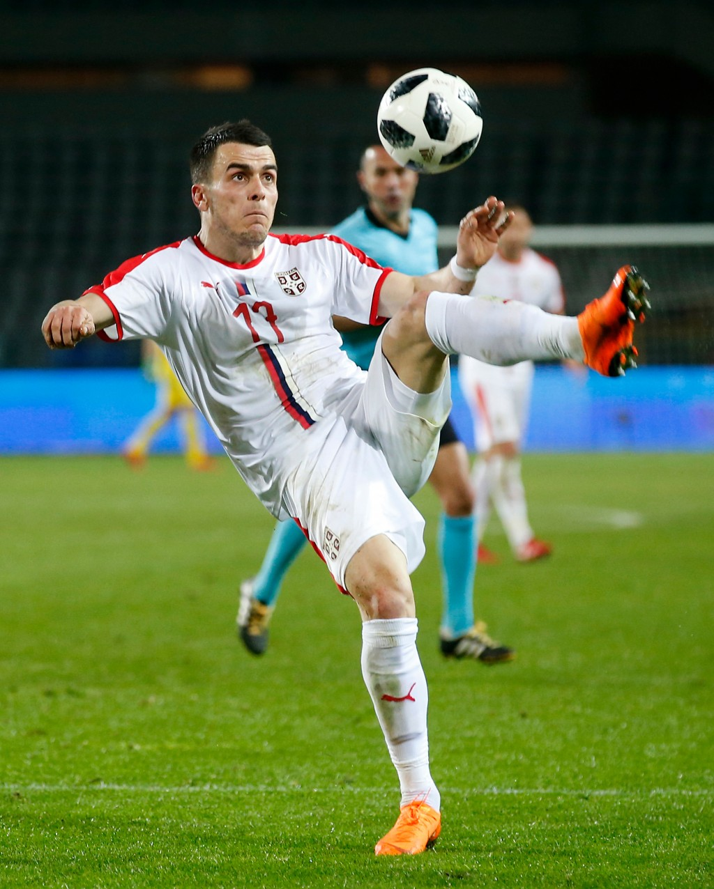 In this photo taken on Friday, March 23, 2018, Serbia's Filip Kostic controls the ball during a friendly soccer match between Serbia and Morocco in Tu...