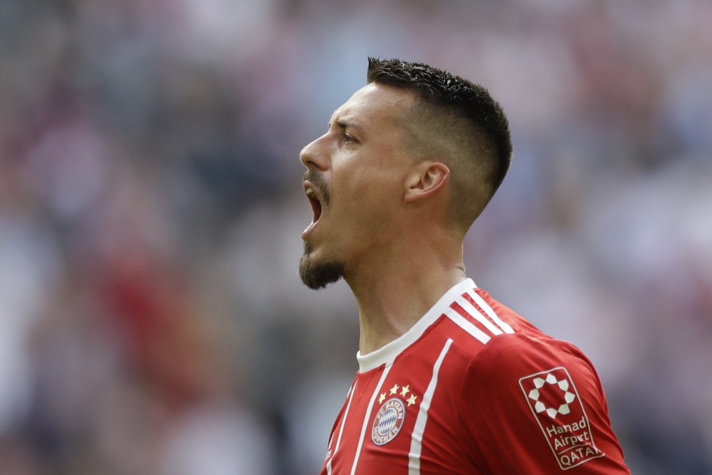 Bayern's Sandro Wagner celebrates after scoring his side's second goal during the German Bundesliga soccer match between FC Bayern Munich and Eintrach...