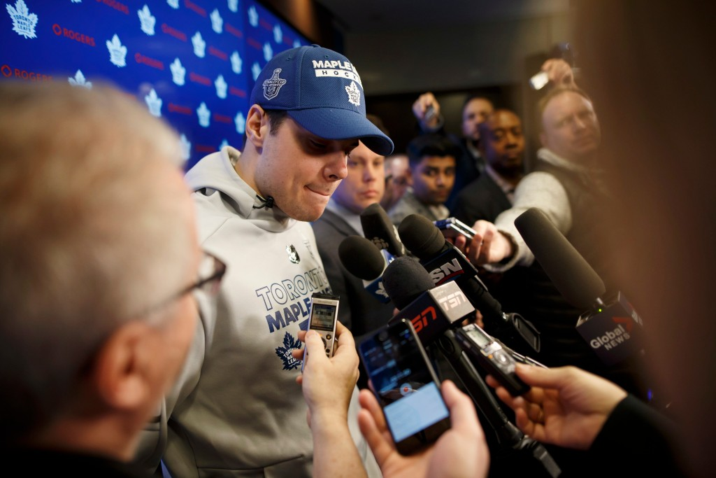 Toronto Maple Leafs NHL hockey player Auston Matthews speaks to reporters in Toronto, Friday, April 27, 2018. The Boston Bruins defeated the Maple Lea...