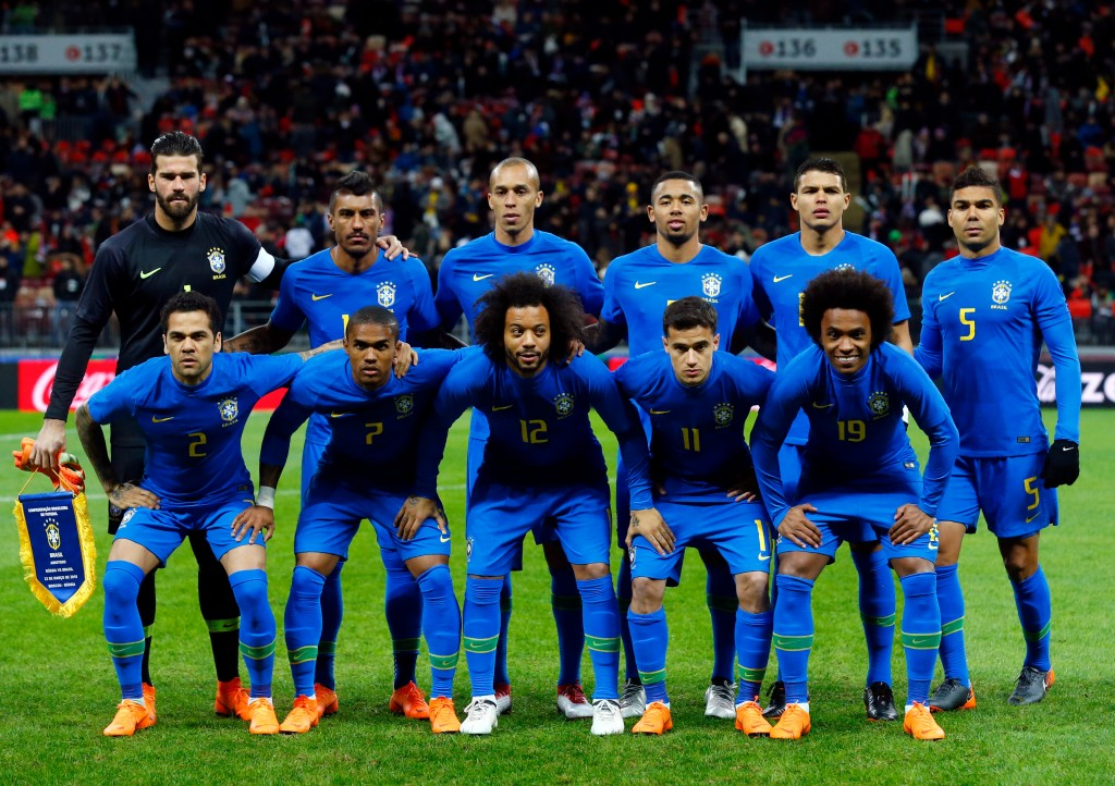 In this photo taken on Friday, March 23, 2018, the Brazilian players pose before an international friendly soccer match between Russia and Brazil at t...