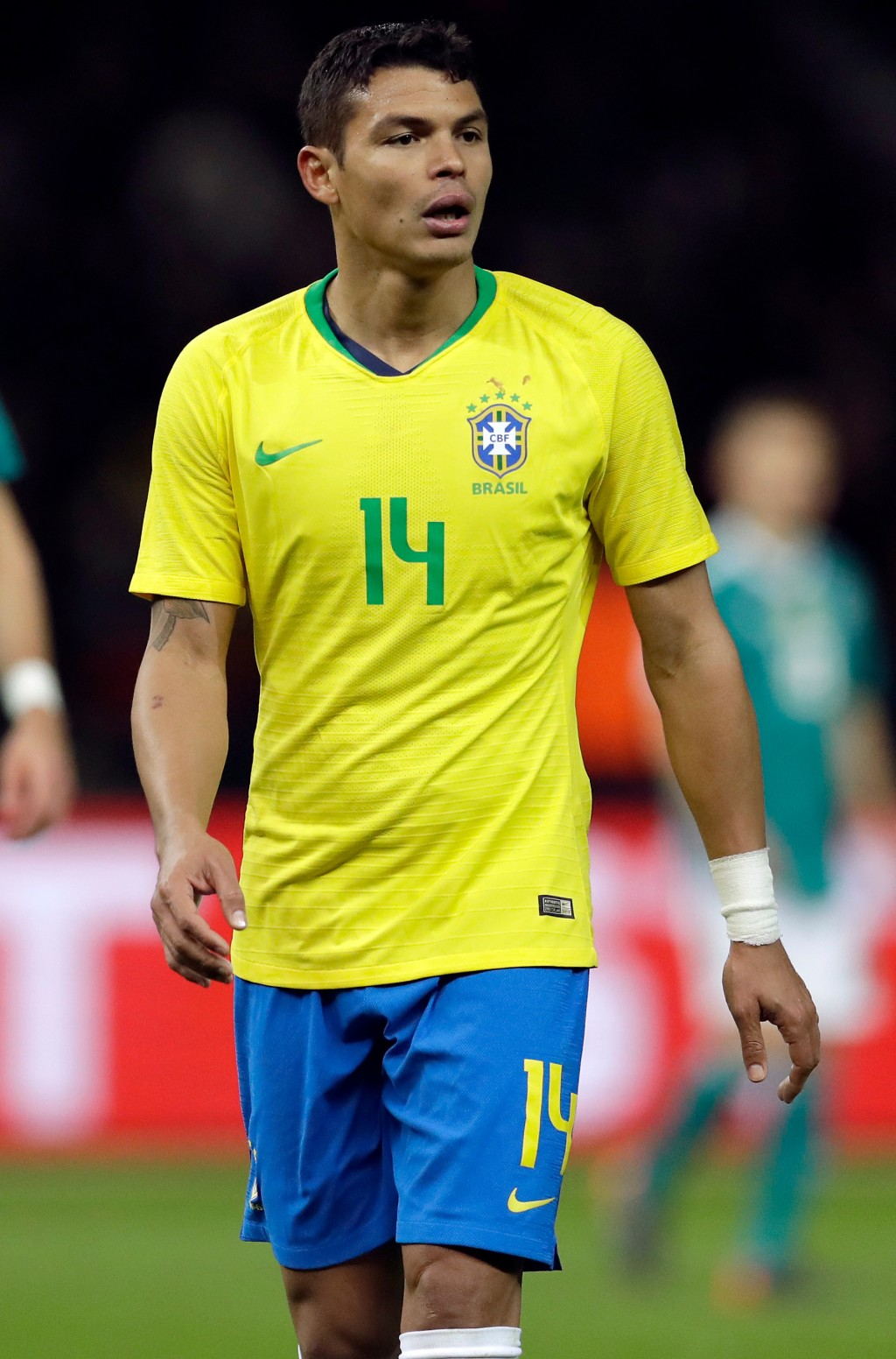 In this photo taken on Tuesday, March 27, 2018, Brazil's Thiago Silva during the international friendly soccer match between Germany and Brazil in Ber...