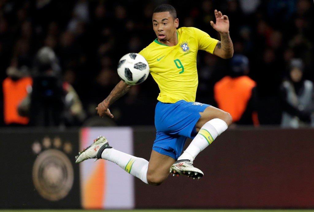 In this photo taken on Tuesday, March 27, 2018, Brazil's Gabriel Jesus controls the ball during the international friendly soccer match between German...
