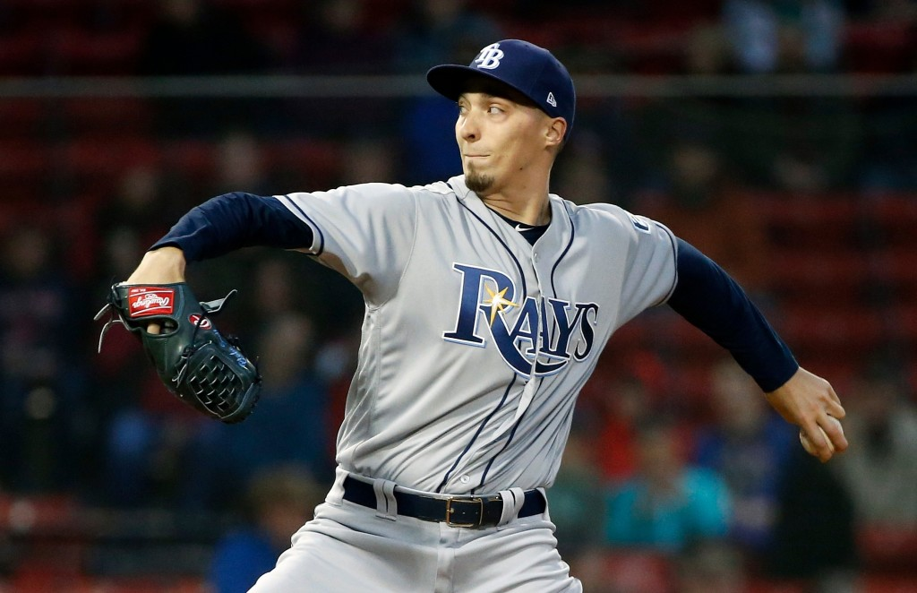 Tampa Bay Rays' Blake Snell pitches during the first inning of a baseball game against the Boston Red Sox in Boston, Friday, April 27, 2018. (AP Photo...