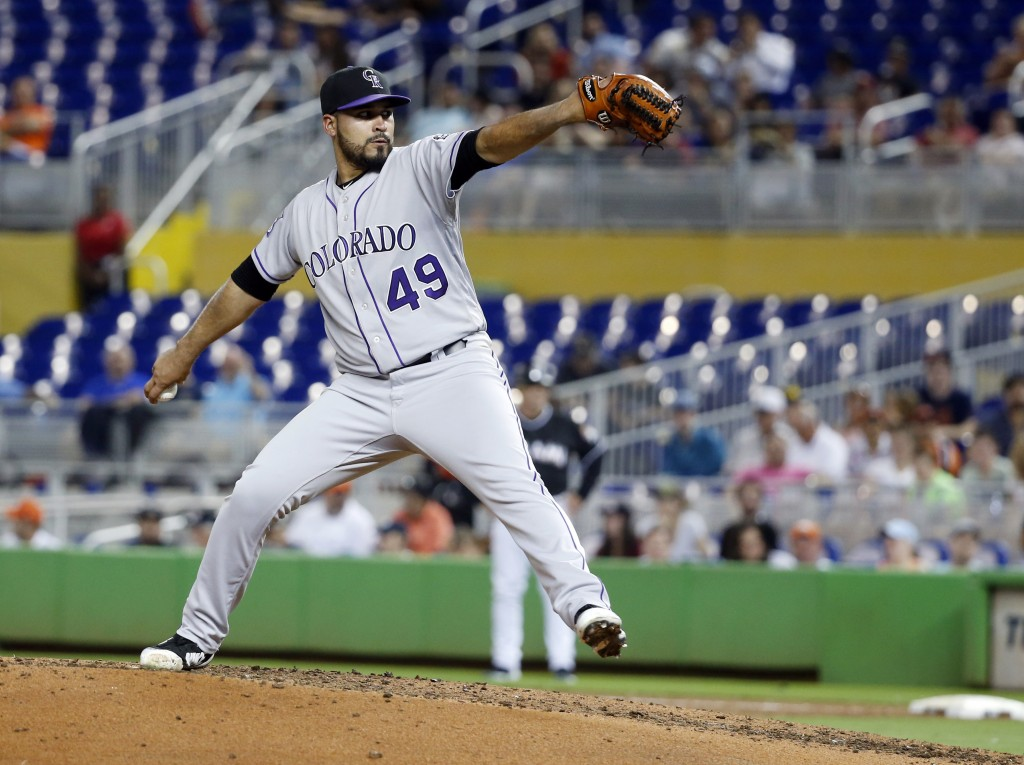 Colorado Rockies' Antonio Senzatela delivers a pitch during the fifth inning of a baseball game against the Miami Marlins, Friday, April 27, 2018, in ...