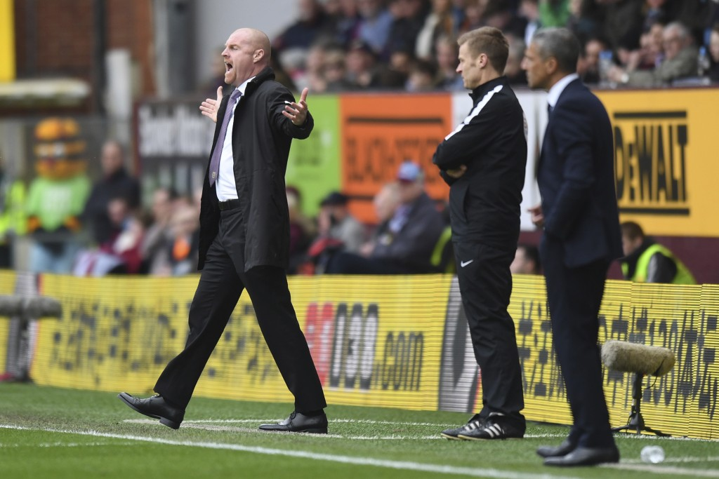 Burnley manager Sean Dyche reacts on the touchline during the match against Brighton, during their English Premier League soccer match at Turf Moor in...