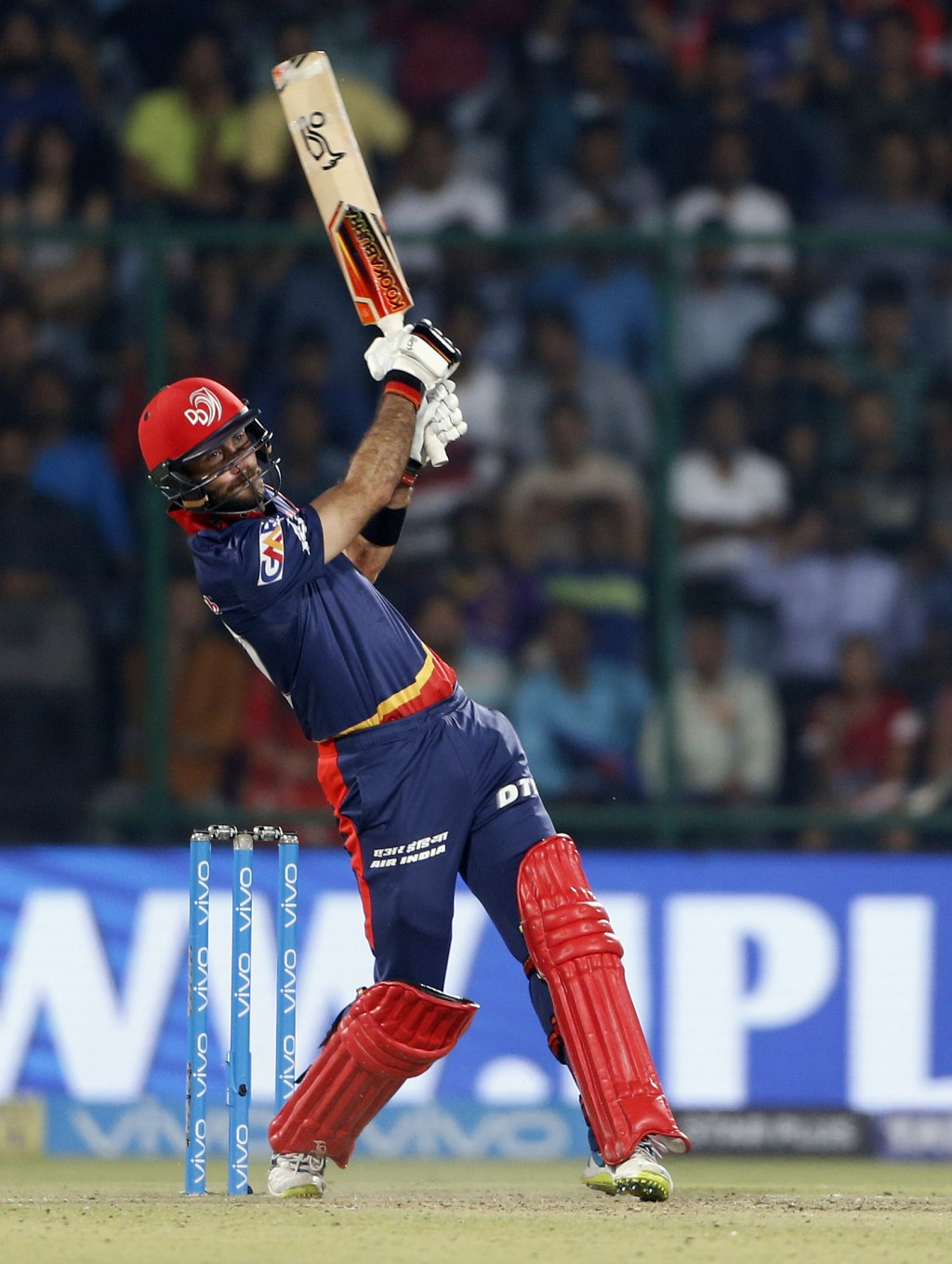 Delhi Daredevils' Glenn Maxwell plays a shot during VIVO IPL cricket T20 match against Kolkata Night Riders in New Delhi, India, Friday, April 27, 201...