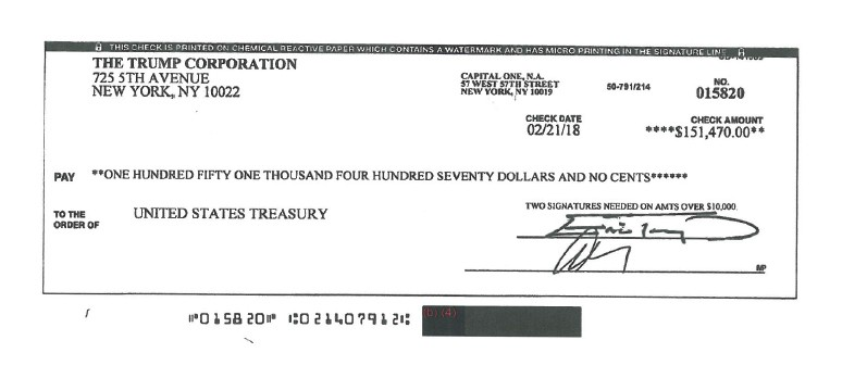 This image obtained from the U.S. Department of the Treasury through a Freedom of Information Act, (FOIA) request by the Associated Press shows a chec...