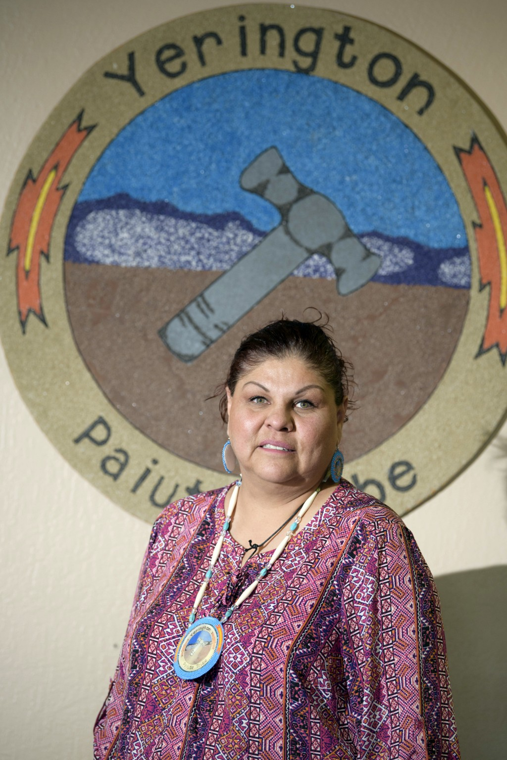 Yerington Paiute Tribal Chairman Laurie Thom poses in the tribal office in Yerington, Nev., Friday, April 27, 2018. Atlantic Richfield, the owner of a...
