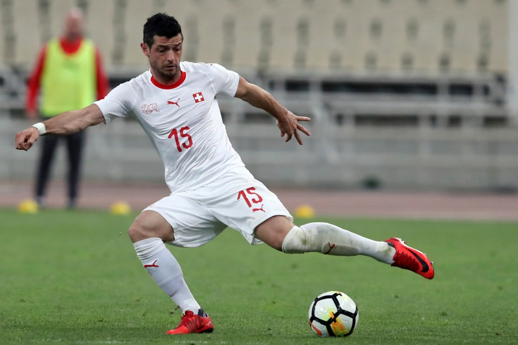 In this photo taken on Friday, March 23, 2018, Switzerland's Blerim Dzemaili controls the ball during an international friendly soccer match against G...