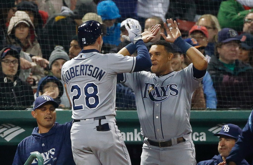 Tampa Bay Rays' Daniel Robertson (28) celebrates his solo home run during the fourth inning of a baseball game against the Boston Red Sox in Boston, F...