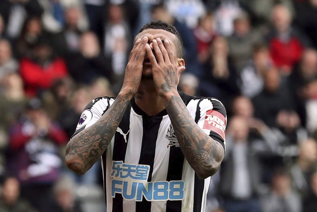 Newcastle United's Kenedy reacts to a missed chance to score, during the English Premier League soccer match between Newcastle and West Bromwich, at S...