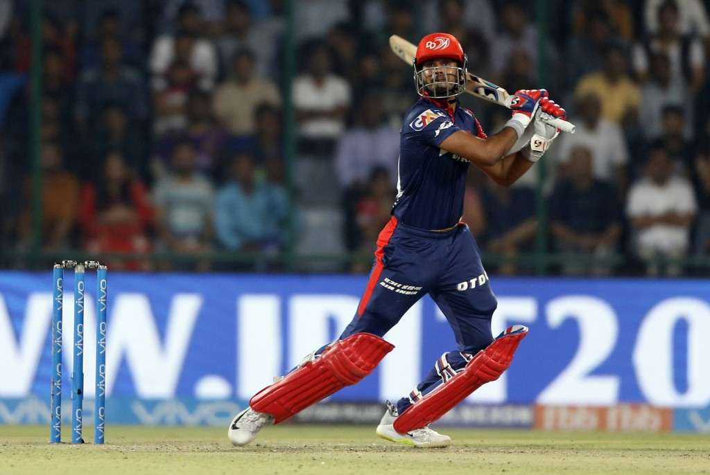 Delhi Daredevils' Shreyas Iyer watches his shot during VIVO IPL cricket T20 match against Kolkata Night Riders in New Delhi, India, Friday, April 27, ...