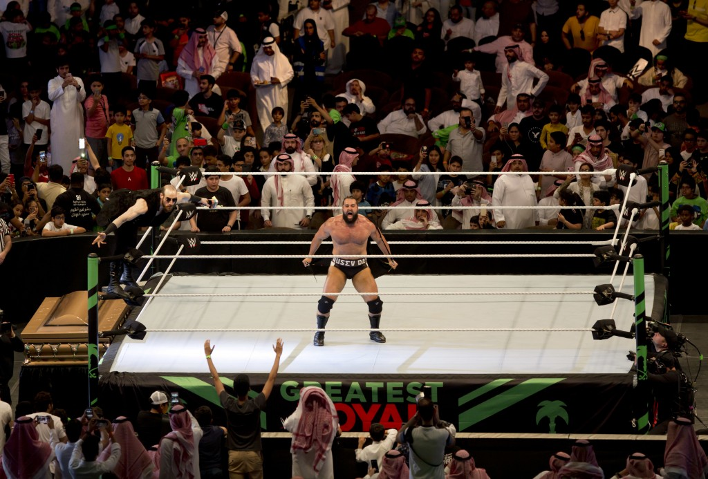 "World Wrestling star Rusev is greeted by fans during his match of the ""Greatest Royal Rumble"" event in Jiddah, Saudi Arabia, Friday, April 27, 2018. A..."