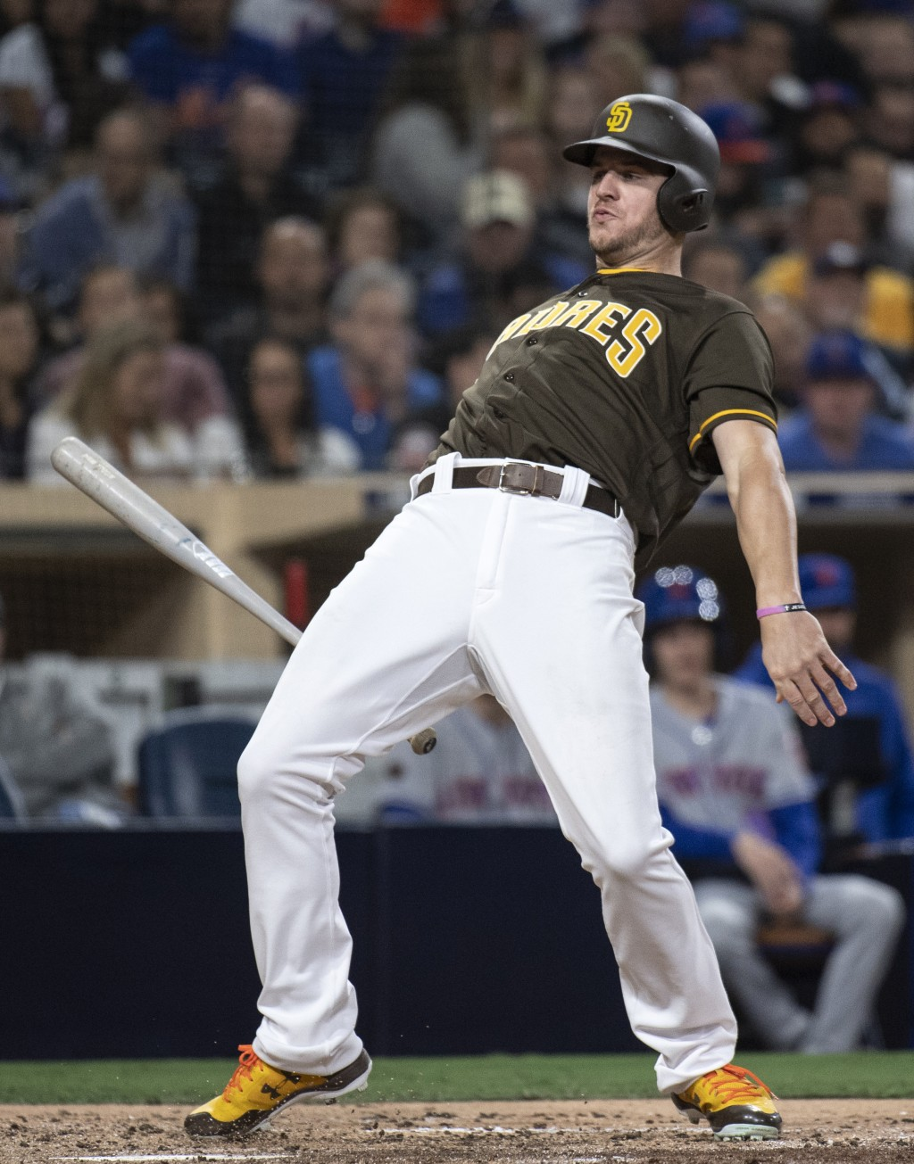 San Diego Padres' Wil Myers evades an inside pitch during the third inning of a baseball game against the New York Mets in San Diego, Friday, April, 2...