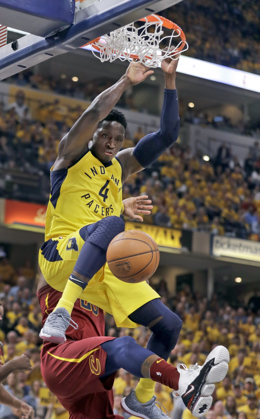 Indiana Pacers' Victor Oladipo dunks during the second half of Game 6 of a first-round NBA basketball playoff series against the Cleveland Cavaliers, ...