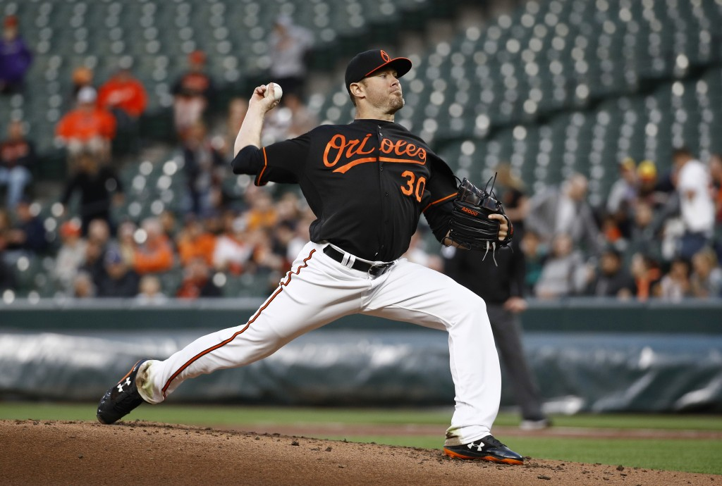 Baltimore Orioles starting pitcher Chris Tillman throws to a Detroit Tigers batter during the second inning of a baseball game Friday, April 27, 2018,...