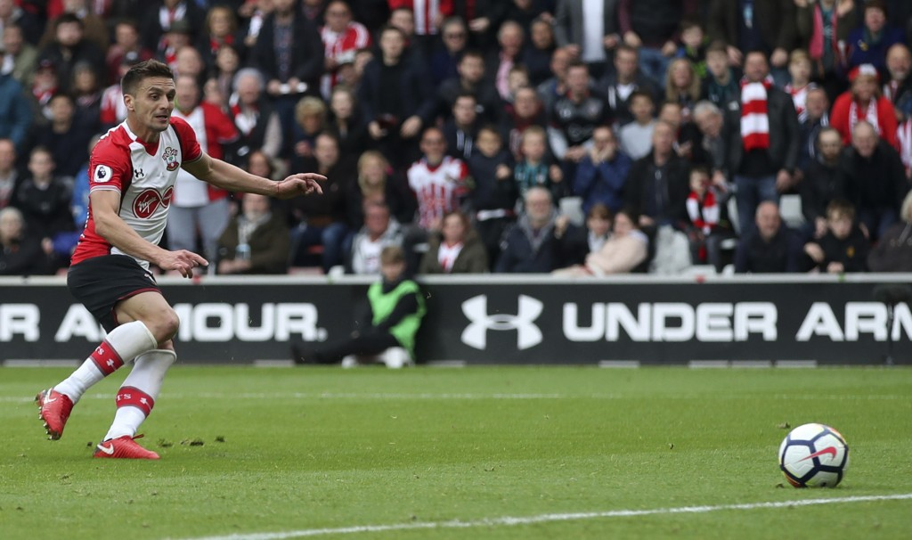 Southampton's Dusan Tadic scores his side's first goal of the game against AFC Bournemouth during the English Premier League soccer match at St Mary's...