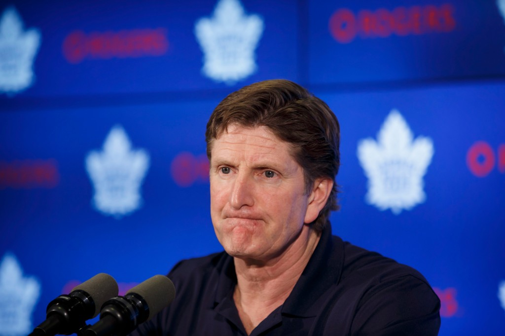Toronto Maple Leafs NHL hockey head coach Mike Babcock speaks to reporters in Toronto, Friday, April 27, 2018. The Boston Bruins defeated the Maple Le...