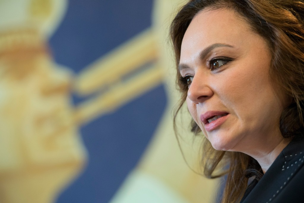 FILE - In this Sunday, April 22, 2018 file photo, Russian lawyer Natalia Veselnitskaya speaks during an interview with The Associated Press in Moscow,...
