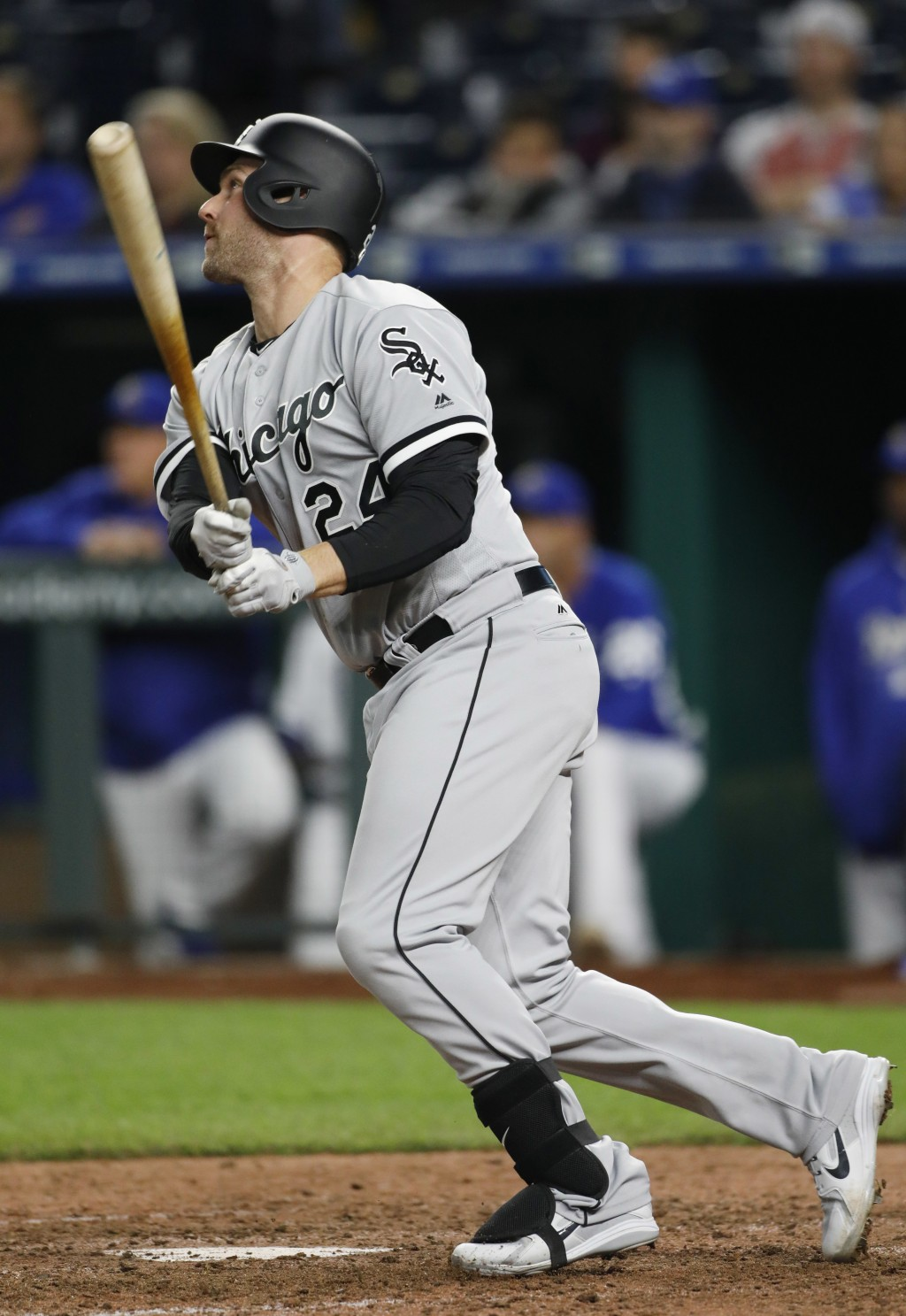 Chicago White Sox designated hitter Matt Davidson watches his two-run home run in the 11th inning of a baseball game against the Kansas City Royals at...
