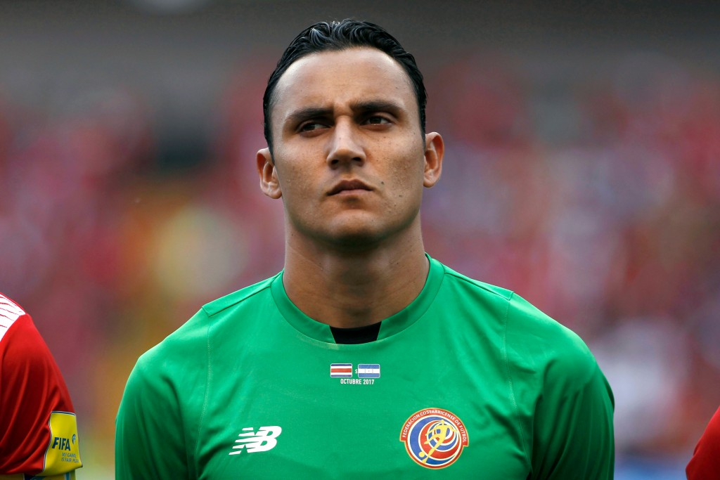 In this photo taken on Saturday, Oct 7, 2017, Costa Rica goalkeeper Keylor Navas listens to the anthems before a World Cup qualifying soccer game agai...