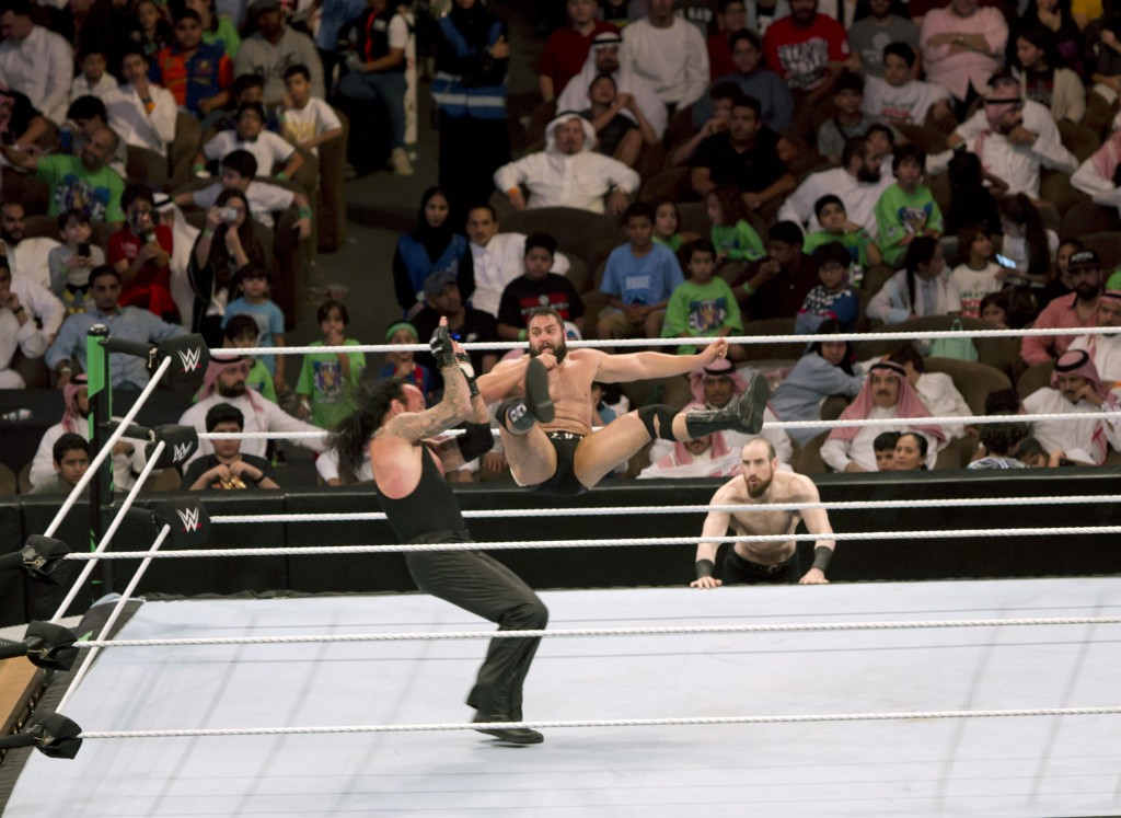 "World Wrestling Entertainment star The Undertaker, left, wrestles Rusev during their match of the ""Greatest Royal Rumble"" event in Jiddah, Saudi Arabi..."