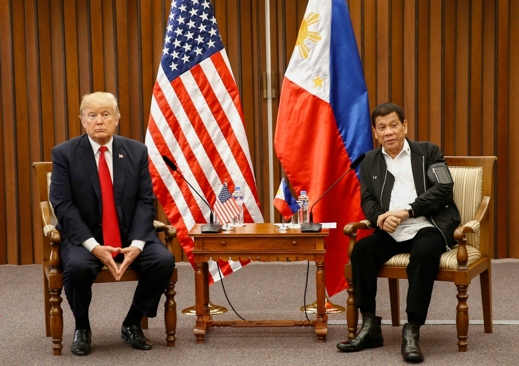 FILE - In this Nov. 13, 2017, file photo, U.S. President Donald Trump, left, and Philippine President Rodrigo Duterte hold a bilateral meeting on the ...