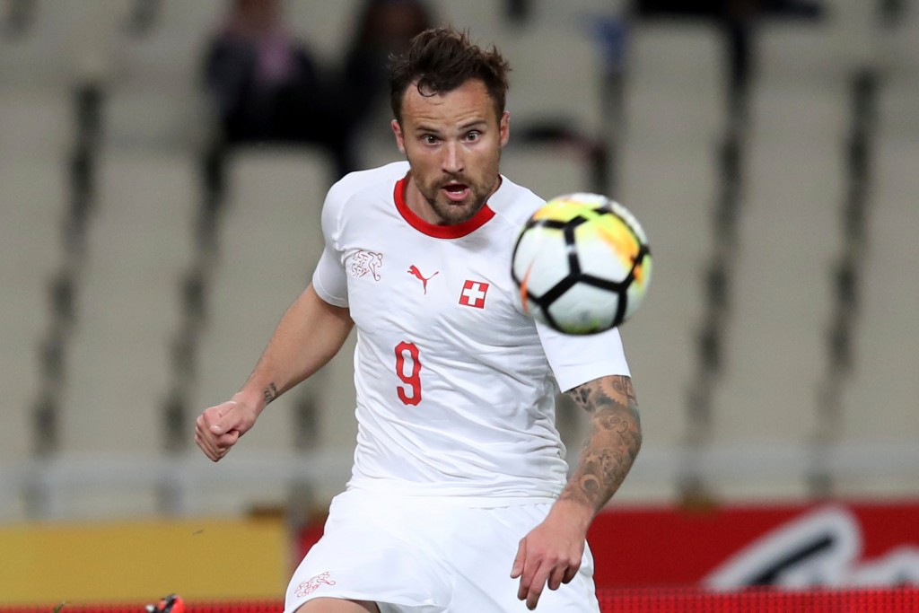 In this photo taken on Friday, March 23, 2018, Switzerland's Haris Seferovic eyes the ball during an international friendly soccer match against Greec...