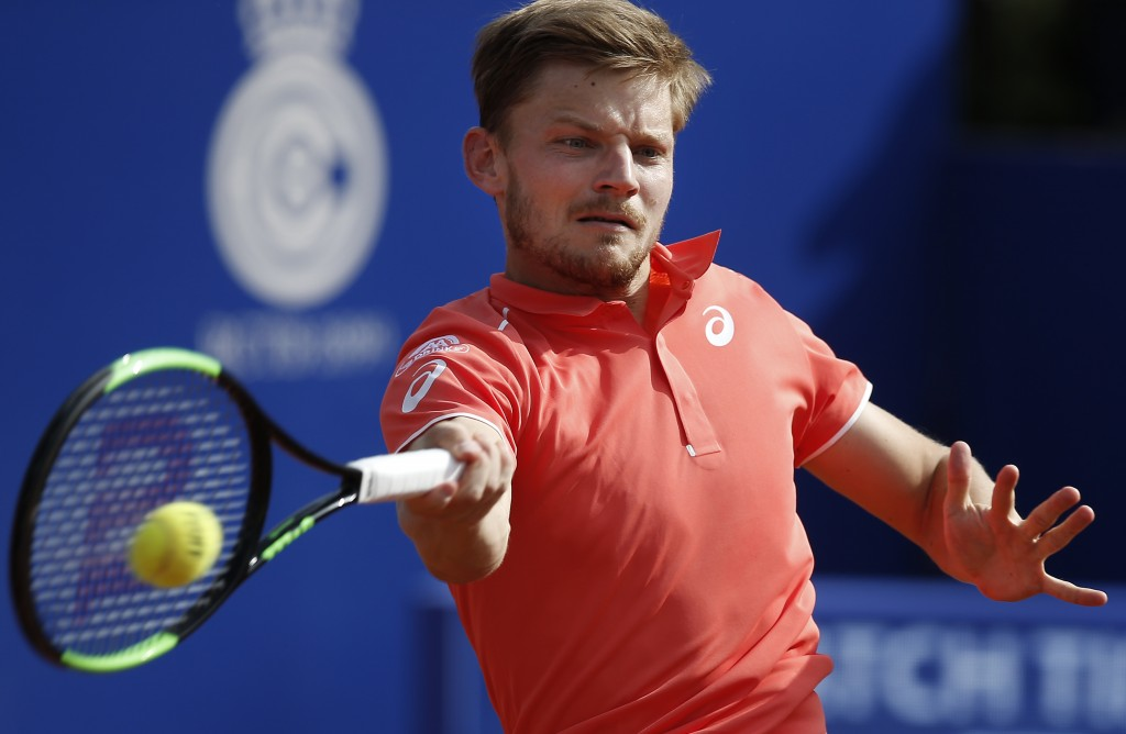 Belgium's David Goffin returns the ball in his semifinal match against Spain's Rafael Nadal during the Barcelona Open Tennis Tournament in Barcelona, ...