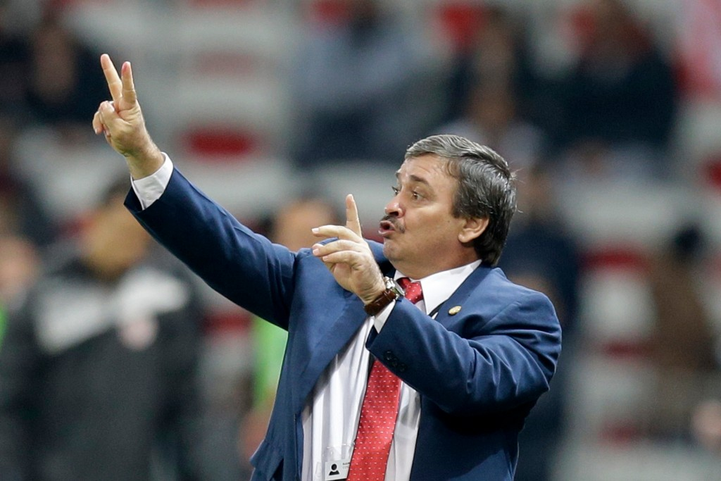 In this photo taken on Tuesday, March 27, 2018 Costa Rica head coach Oscar Ramirez reacts during a friendly soccer match between Tunisia and Costa Ric...